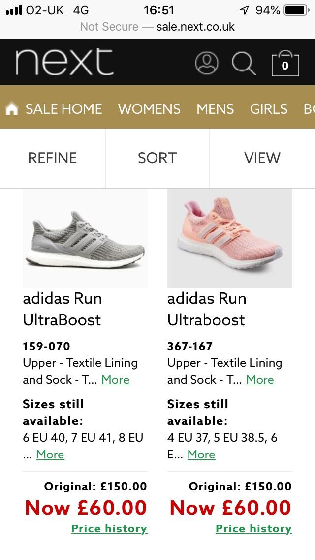 Adidas Ultraboost mens women's all sizes £60-£75 @ next Ultraboost 2019 £65 (@ next vip sale slots)
