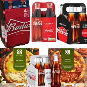 Supersaver @ Co-Op Deal - 2 Pizzas and a Pack of 4 x Budweiser (or Diet / Coke 4 pack) for £5