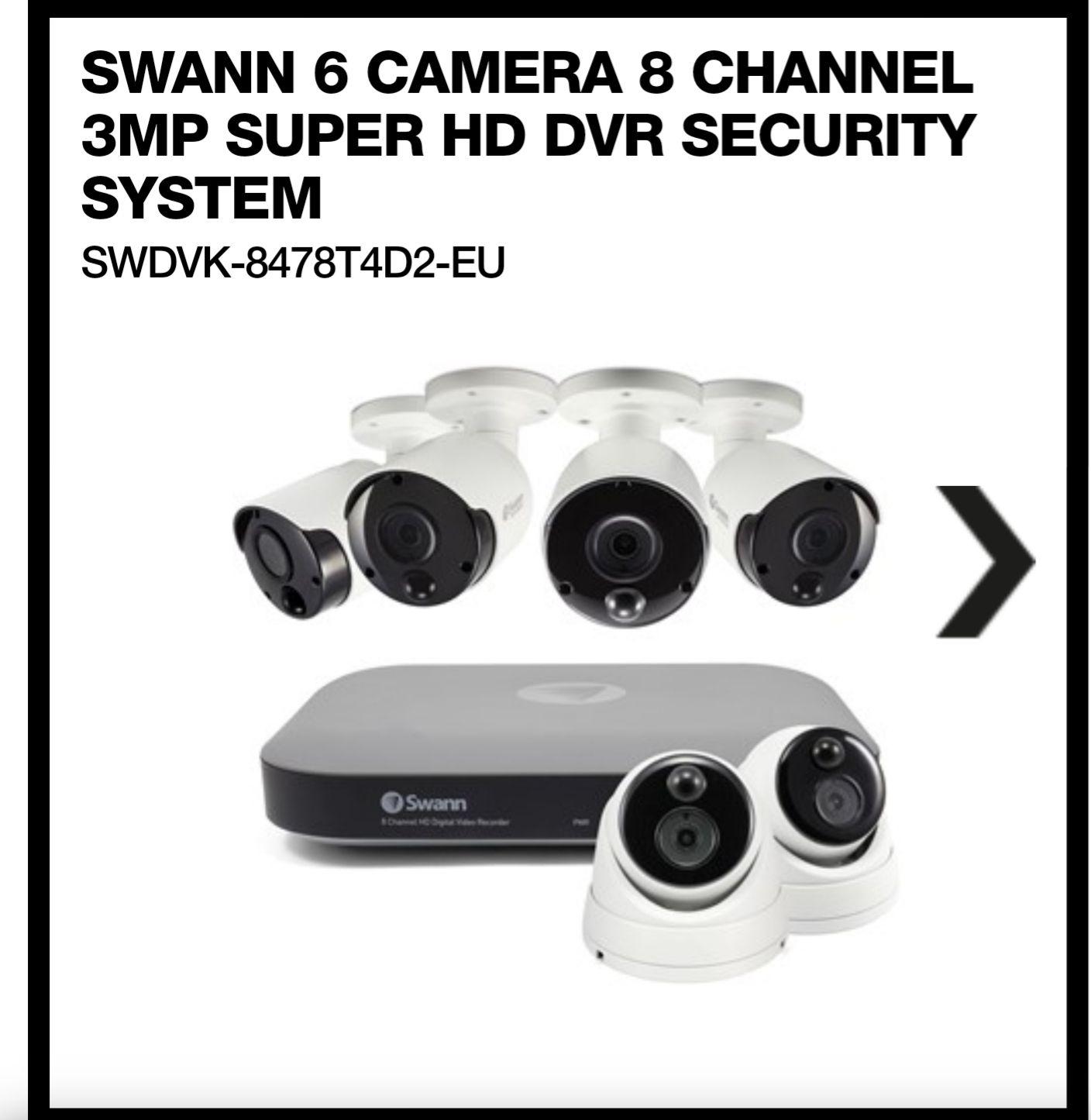Swann 6 Camera 8 Channel 3MP Super HD DVR Security System - £249.99 @ Box