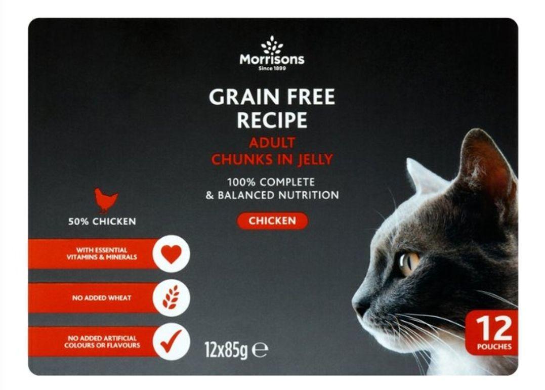 Morrisons premium grain free cat food 50% chicken. 12 pouches - £3
