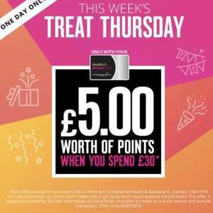£5.00 worth of points with a £30 spend at Superdrug for beauty card holders today only