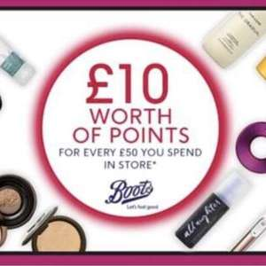£10 worth of points for every £50 spend Instore / £60 online  from today -Boots