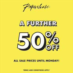 A further 50% off ALL sale @ Paperchase.com + FREE click & collect or £2.99 delivery