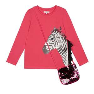 Blue Zoo Sequin Zebra Top & Bag: Ages 8-10 yrs £4.50, Ages 11-13 yrs £5.10 & Free Delivery with code @ Debenhams