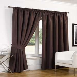 Faux Silk Blackout Curtains in Chocolate from £11 (+ £1.99 P&P) @ Online Home Shop