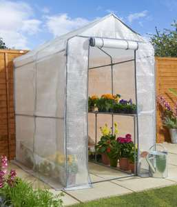 Further Reduced: Wilko Walk in PE Greenhouse with Cover and Shelf Staging H190 x W120 x D190cm - (More in OP) - £25 + Free C&C @ Wilko