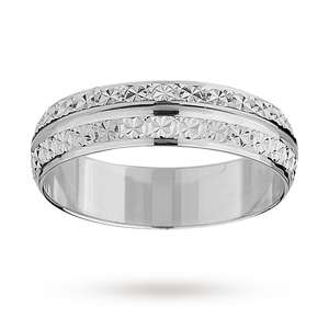 Diamond Cut (style) Wedding Band 9ct White Gold Engraveable - £120 Delivered @ Goldsmiths
