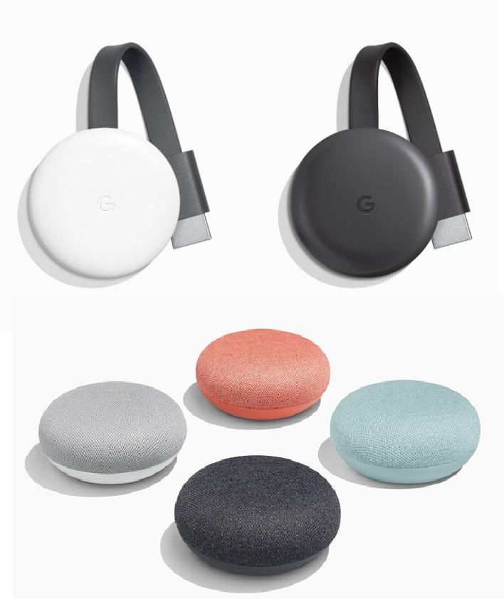 Google Chromecast (3rd Gen.) Chalk / Charcoal £20 // Chromecast Ultra £54 // Google Home Mini Inc. Coral & Aqua £24 @ Google Store