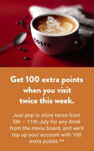 100 extra Costa Coffee Club points when any two drinks bought between 5th and 11th July