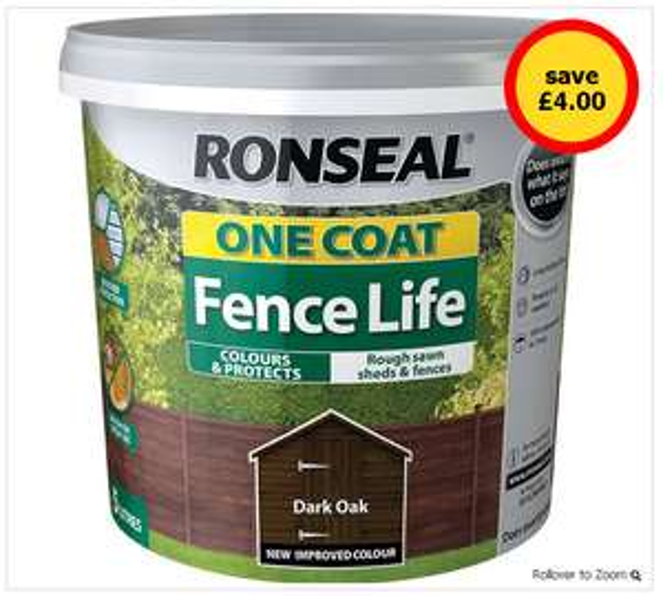 5L Ronseal One Coat DARK OAK £4 @ Wilkos (Free C&C)
