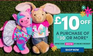 £10 off a purchase of £30 or more @ Build-a-Bear Workshop
