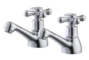 Plumbsure Azure 2 Lever Hot & Cold Basin Pillar Tap - £10 at B&Q - Free C&C