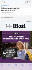 House of Fraser £5 voucher free in the Mail on Sunday - £1.80