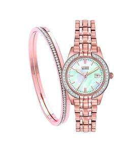 CITIZEN ECO-DRIVE SILHOUTTE CRYSTAL LADIES' ROSE GOLD-PLATED WATCH & BANGLE SET - £179 Free Del @ Fraser Hart