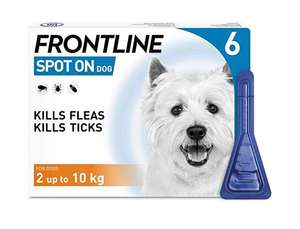 FRONTLINE Spot On Flea & Tick Treatment for Small Dog (2-10kg) 6 Pipettes for just £19.49 delivered (first time S&S users only) @ amazon.
