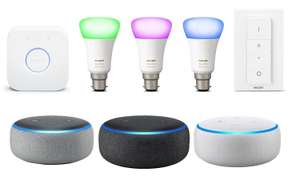 Philips Hue White and Colour Ambience Starter Kit B22 / E27 (3 Colour bulbs + Hub + Dimmer Switch) + Echo Dot (3rd Gen) £94.99 @ Amazon