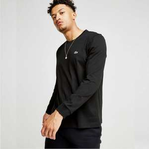 Men's Lacoste long sleeved t shirt in black or white £22.50 free click and collect JDSports