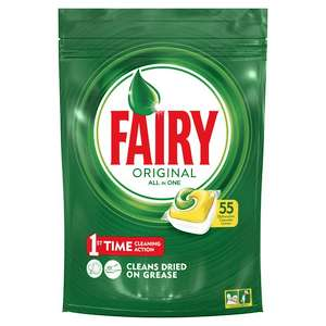 Fairy Original All In One Lemon 55 Dishwasher Tablets 743G - £6 @ Tesco - only 10.9p each