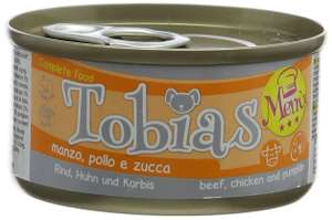 Tobias 30% Beef, 30% Chicken and 10% Pumpkin Dog Food - Pack of 24 - only £1.05 [Prime] or £5.54 [Non-Prime] @ Amazon