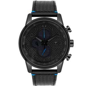 Citizen Primo Men's Eco-Drive Chronograph Black Leather Strap Watch, £125 at H.Samuel-with code