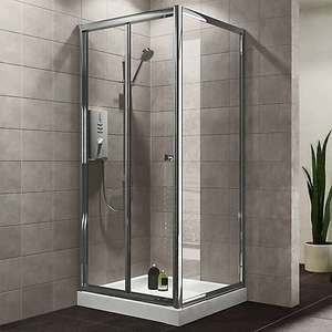 Plumbsure Square Shower enclosure with Bi-fold door (W)800mm (D)800mm now £40 free click and collect at B&Q