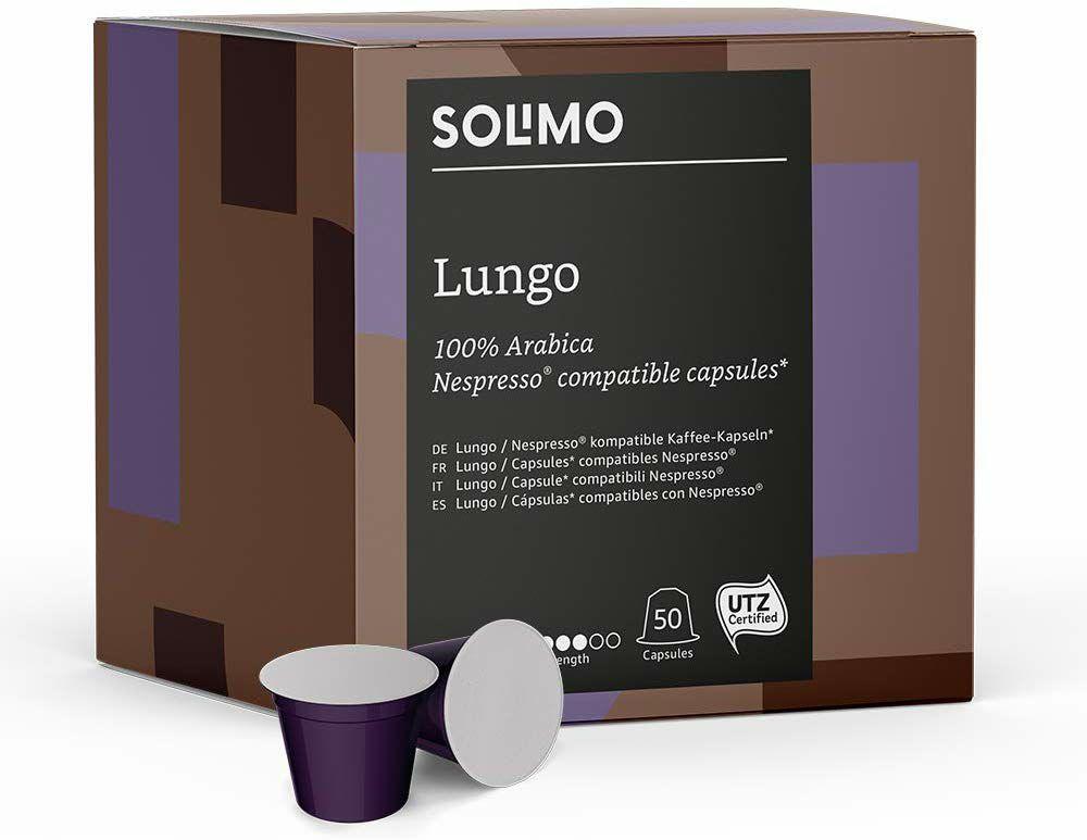 Amazon Brand Solimo Nespresso* Compatible Lungo capsules- UTZ certified, 100 capsules (2 x 50) £4.56 Prime / £12.56 non prime