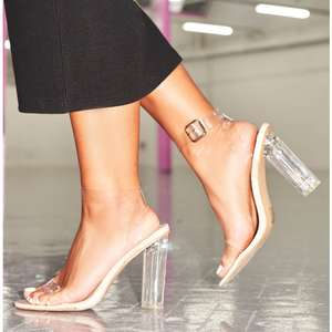 Nelly Nude Perspex Rounded Strappy Heels £21 @ Missy Empire  (+£3.49 P&P)