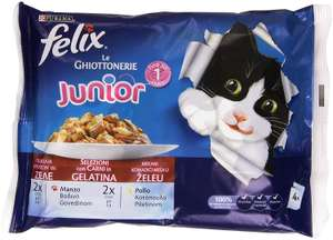 FelixJunior Selections with Meat in Jelly 100 g, Beef and Chicken – 5 Packs of 4 [20 Pieces, 2 kg] £4.55 (Amazon add on)