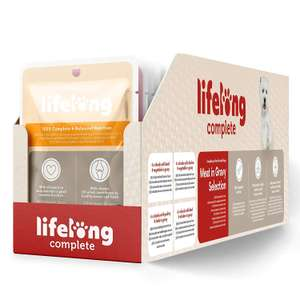 Prime Only. 96 x 100g 'Lifelong' complete wet dog food pouches £20.99 / £14.69 with Prime exclusive at Amazon