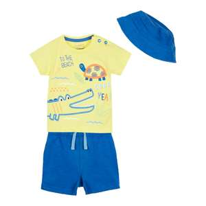Babies' Blue Crocodile Applique T-Shirt, Shorts and Hat Set (was £14) Now £7.00 delivered + more 3 piece outfits for £7.00 @ Debenhams