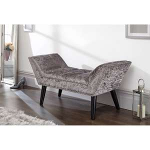 Canipe Crushed Velvet Upholstered Bench in Grey or Black £78.99 free delivery Wayfair