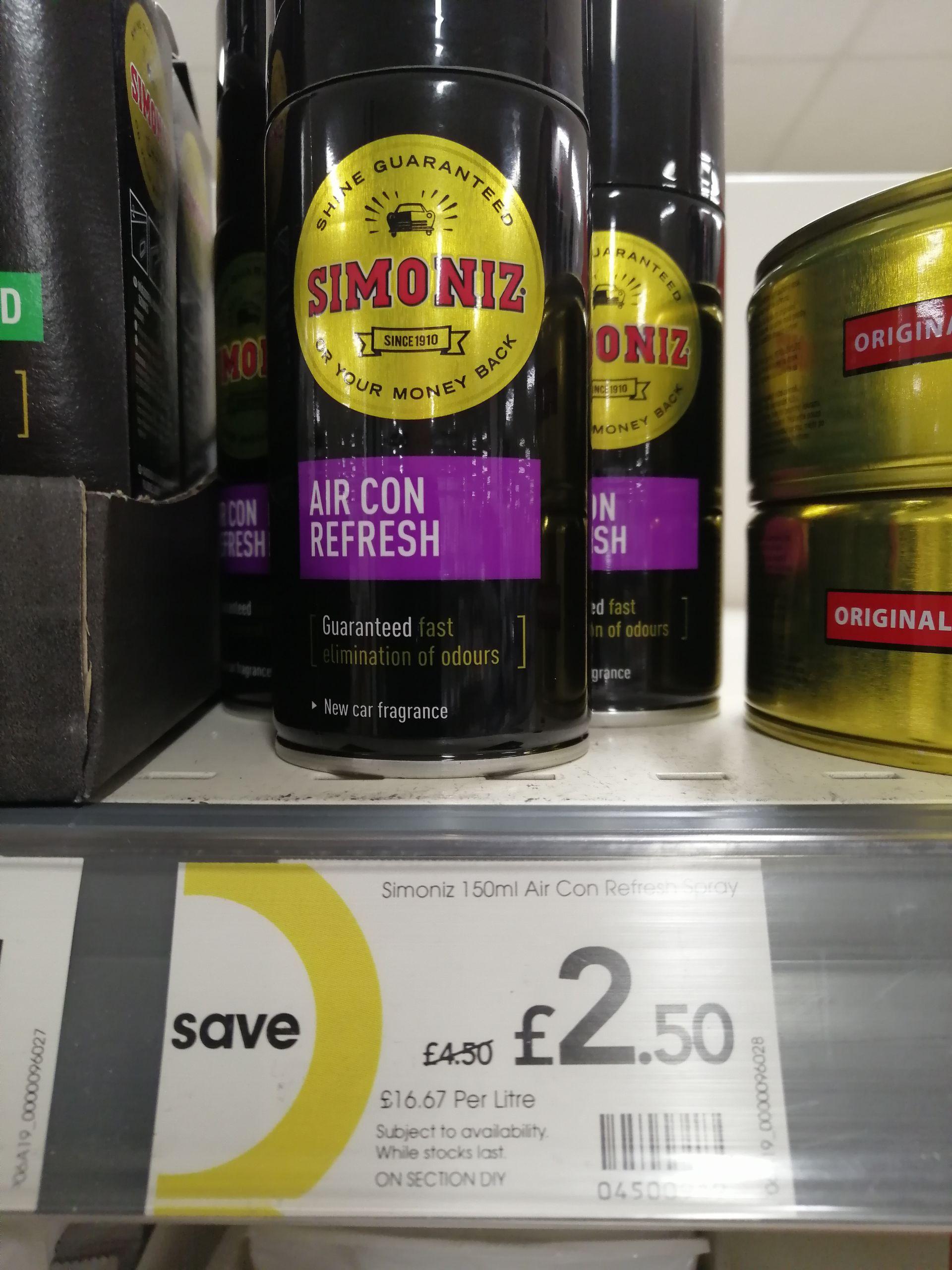 Simoniz 150ml Car Air con Refresh spray £2.50 INSTORE & ONLINE (Free C&C) @ Wilko