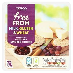 Tesco Free From Coconut Oil Alternative To Smoked Cheese 200g and Tesco Free From Coconut Oil Alternative To Cheese & Peppercorn 200G