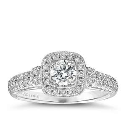 Vera Wang 18ct White Gold 70pt Diamond Cushion Halo Ring £1,849 @ Ernest Jones