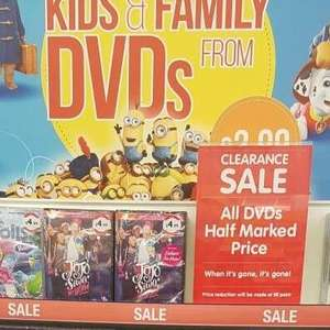 B&M - all DVDs are half price instore - prices from £1.50
