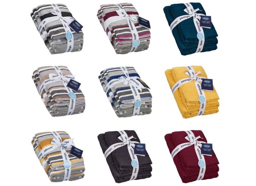 Silentnight 100% Cotton Towel Bales - Stripe / Waffle for £10 @ B&M
