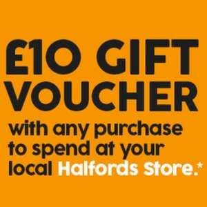 £10 voucher with any purchase @ Halfords Autocentres