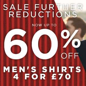 All Sale Shirts Now 4 For £70 @ TM Lewin (free C&C / £4.95 delivery)
