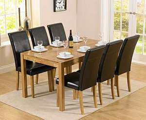 Oxford 150cm Solid Oak Dining Table with Albany Chairs @ Oak Furniture Superstore  £379.05 Delivered