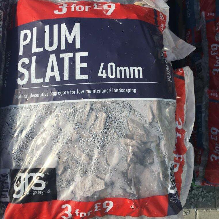 GRS Decorative aggregate 40mm  (Blue Slate, Plum Slate & Cotswold Stone) £3.50 per bag (3 bags for £9) ASDA Bristol - plus garden tools sale