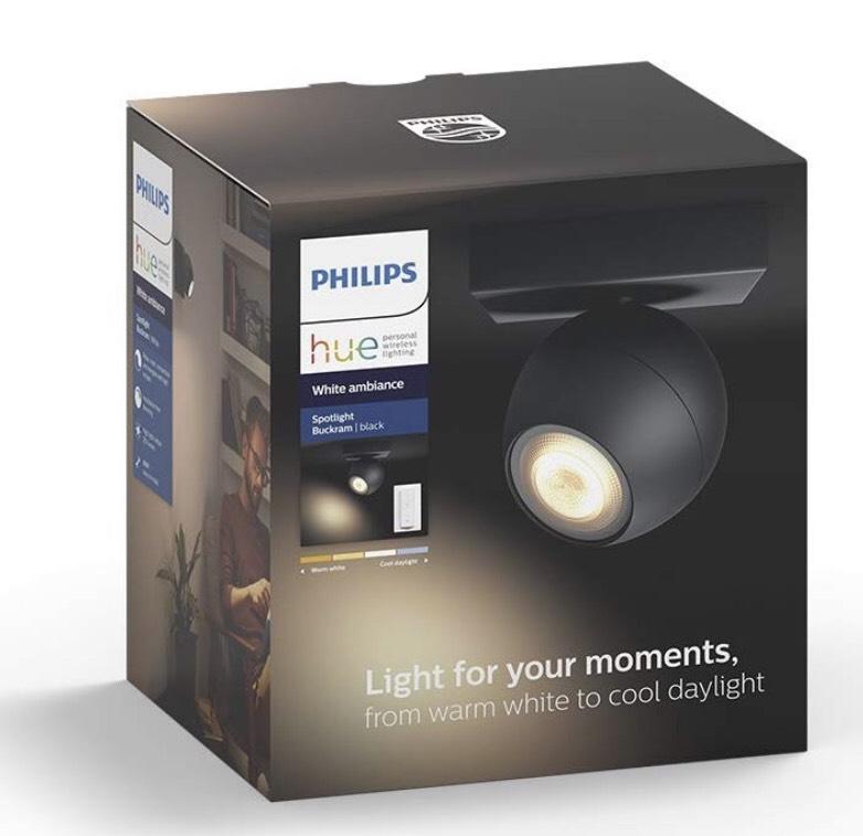 Philips Hue White Ambiance Buckram Single Spot Light Kit, Metal, GU10, 5.5 W, Black £32.99 Amazon