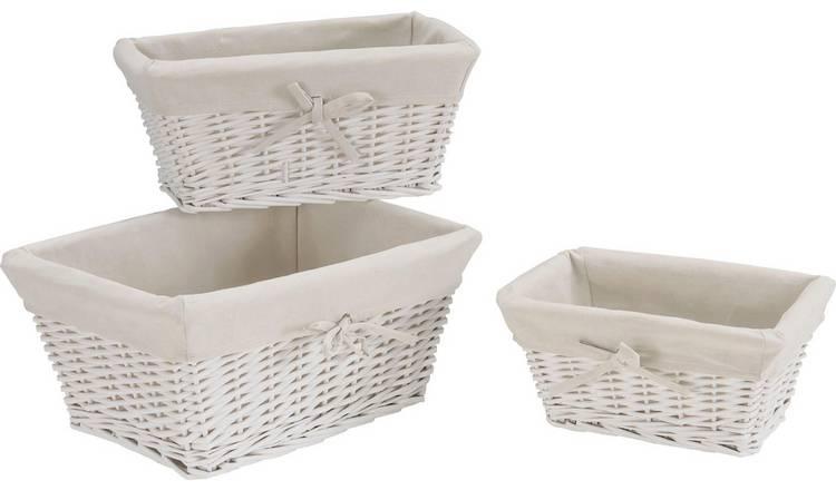 Set of 3 White Willow Storage Baskets, Now £10 & 3 yrs Guarantee @ Argos ( Free C&C )