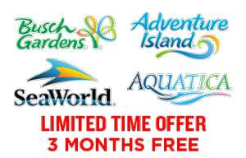 Sea World, Busch Gardens, Aquatica, Adventure Island £188.86  for 15 month pass