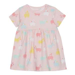 Baby Girls' Pink Donkey Print Dress 3-6, 6-9, 9-12 mths / Navy Safari Animal Print Dress 0 - 24 mths £3 delivered with code @ Debenhams