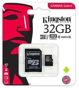 Kingston Canvas Select 32GB UHS-1 (U1), Class 10, 80MB/s read & ADAPTOR for £3.76 Delivered @ BOX