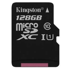Kingston Canvas Select 128 GB Micro SDXC Memory Card Class 10 UHS-I U1 80 Mb/s, card only for £11.99 Delivered @ Base