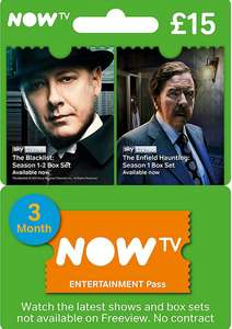 Now TV 3 Month Entertainment Pass or 2 Month Movies Pass £13.49 @ CDKeys