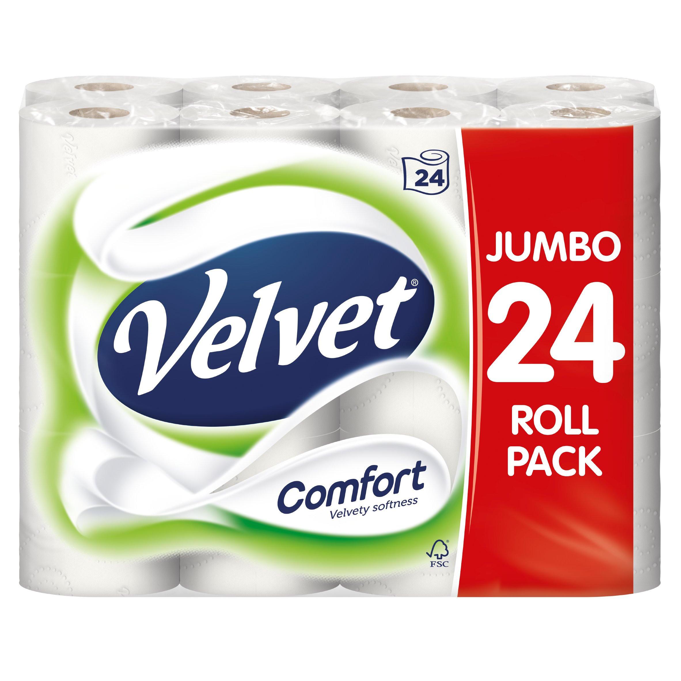 Velvet Comfort White Toilet Rolls 24 pack £6.99 at the Food Warehouse
