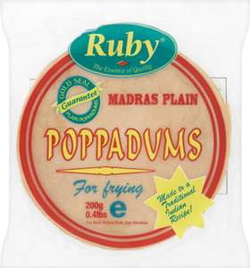 CO-OP indian food clearance from 45p (Ruby's 200g Plain Poppadoms)