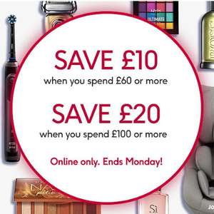 £10 Off a £60 spend, £20 Off a £100 spend - stacks with discounts, 3 for 2 offers and more @ Boots